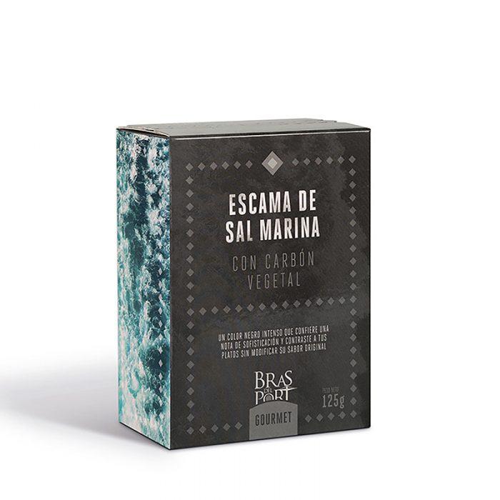 Caja de escama de sal marina con carbón 125 g vista tres cuartos