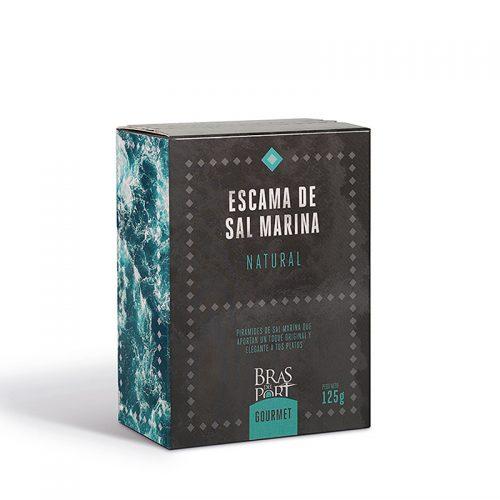 Caja de escama de sal marina natural 125 g vista tres cuartos