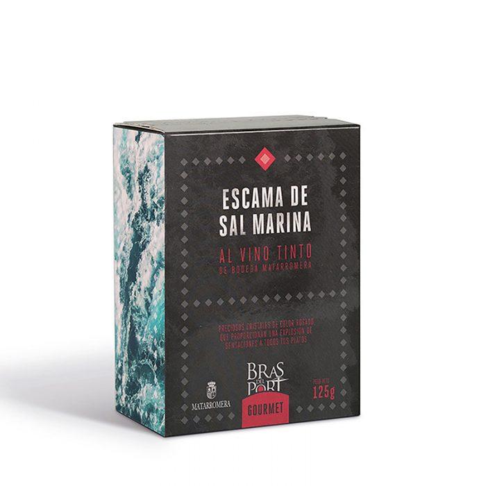 Caja de escama de sal marina al vino tinto Matarromera 125 g vista tres cuartos
