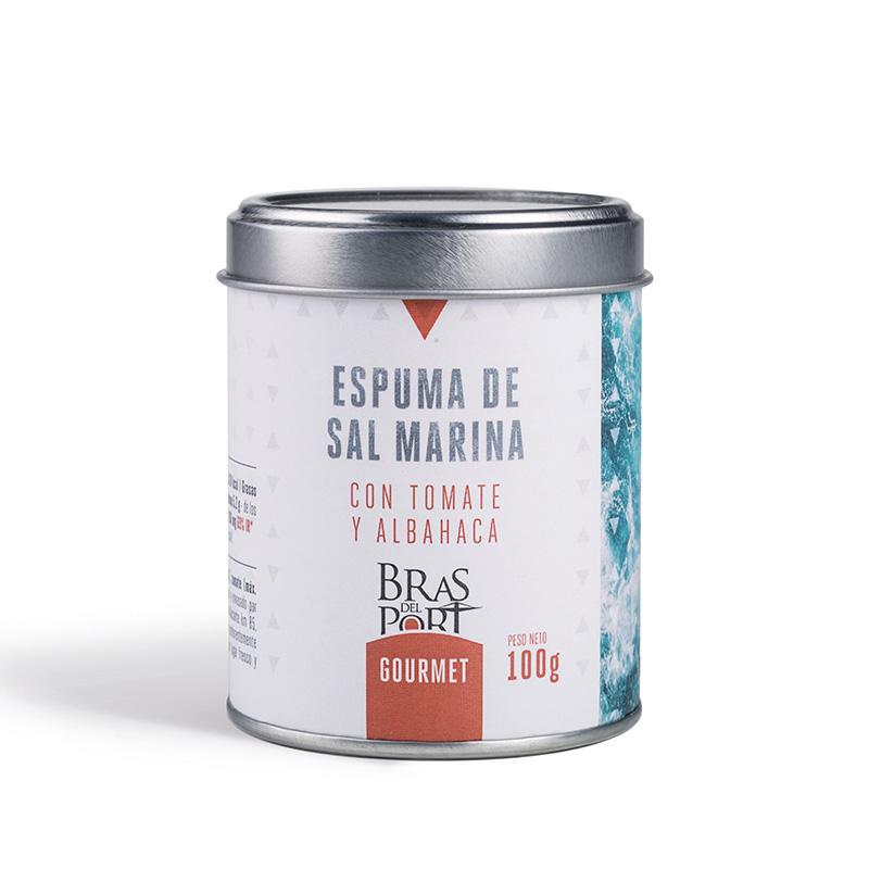 Bote de espuma de sal marina con tomate y albahaca 100 g