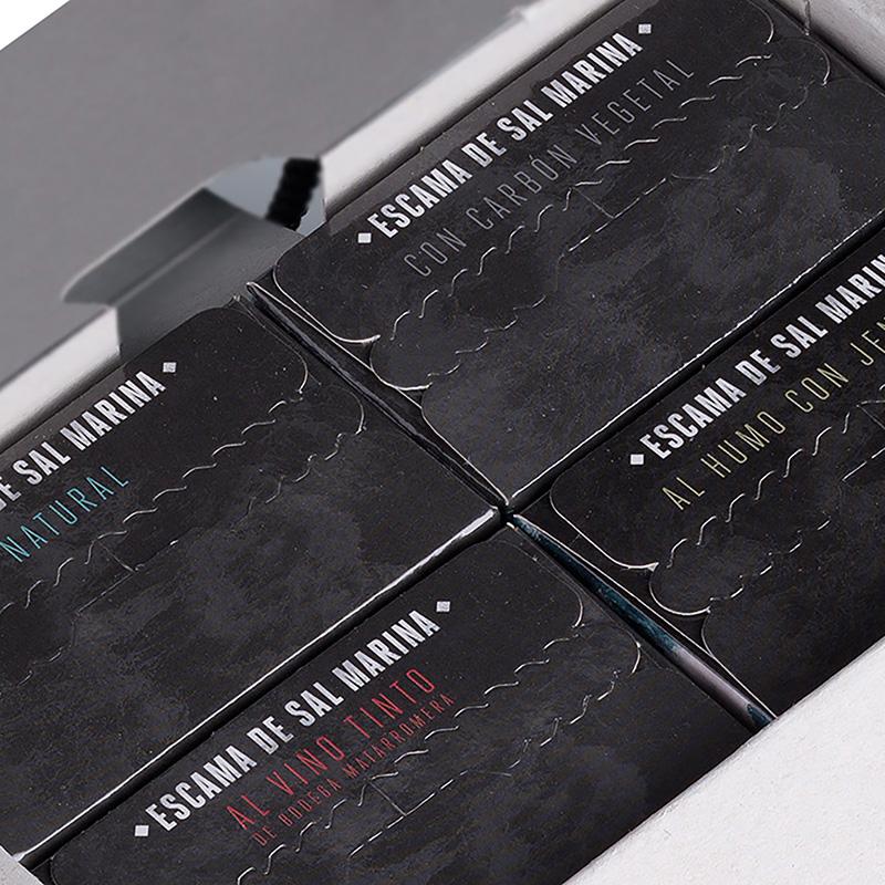 Pack 4 variedades de escama de sal marina 500 g vista abierto