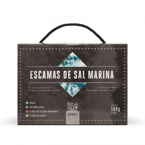 Pack 4 variedades de escama de sal marina 500 g vista frontal