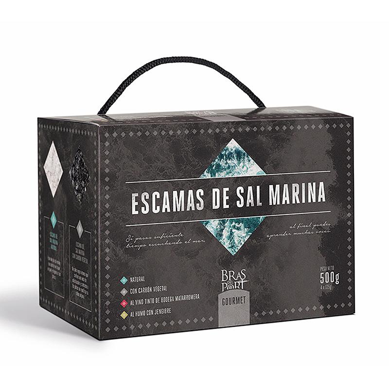 Pack 4 variedades de escama de sal marina 500 g vista tres cuartos