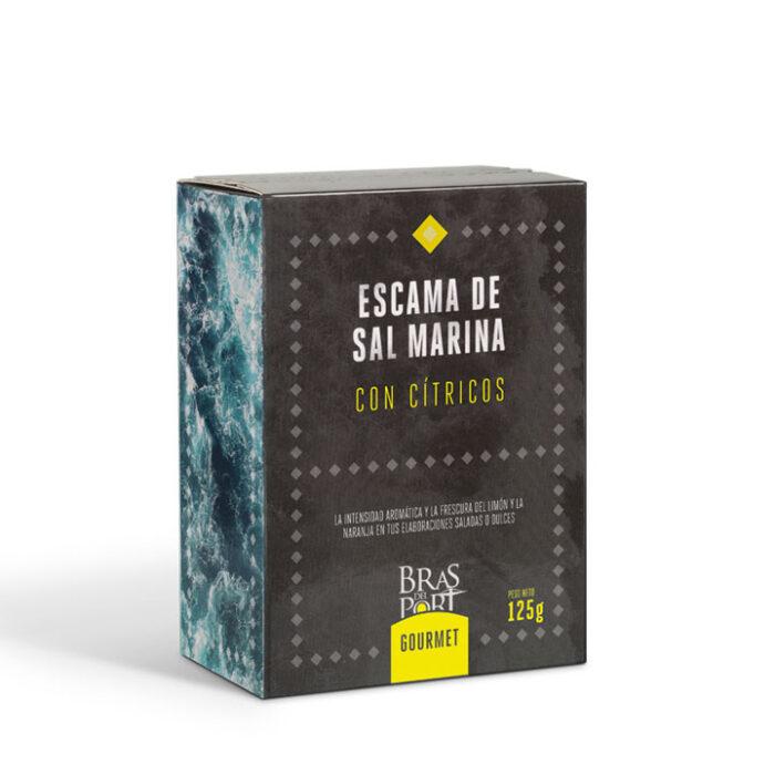 Caja de escama de sal marina con cítricos 250 g vista tres cuartos