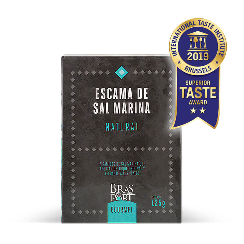 Caja de escama de sal marina natural 125 g vista frontal Superior Taste Awards