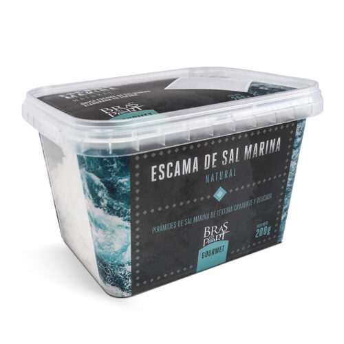 Caja de escama de sal marina natural 200 g vista tres cuartos