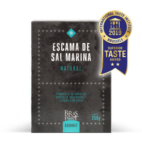Caja de escama de sal marina natural 250 g vista frontal Superior Taste Awards