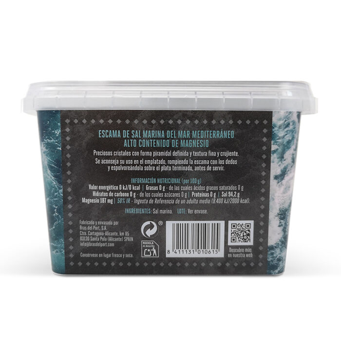 Caja de escama de sal marina natural 200 g vista trasera
