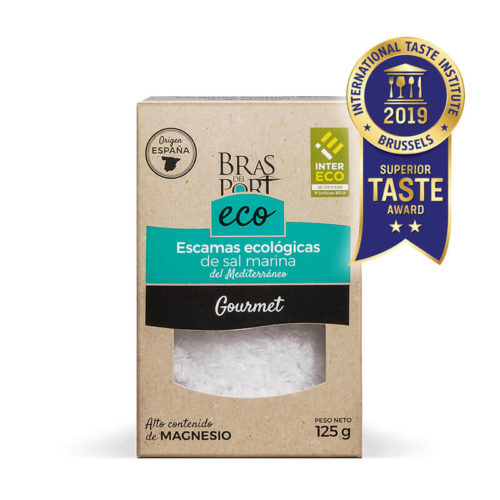 Caja de escama de sal marina ecológica INTERECO natural 125 g vista frontal Superior Taste Awards