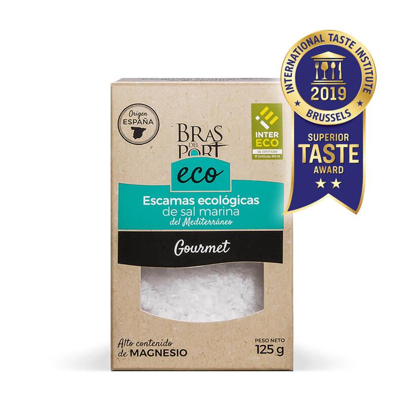 Caja de escama de sal marina ecológica INTERECO natural 125 g vista frontal Superior Taste Awards
