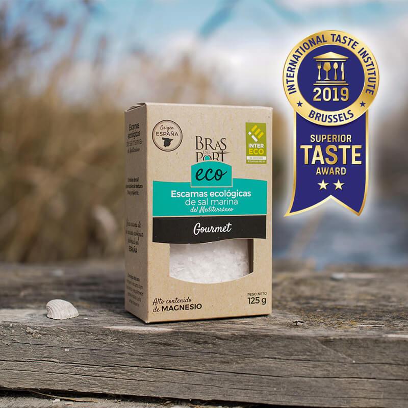 Caja de escama de sal marina ecológica INTERECO natural 125 g salinas Superior Taste Awards