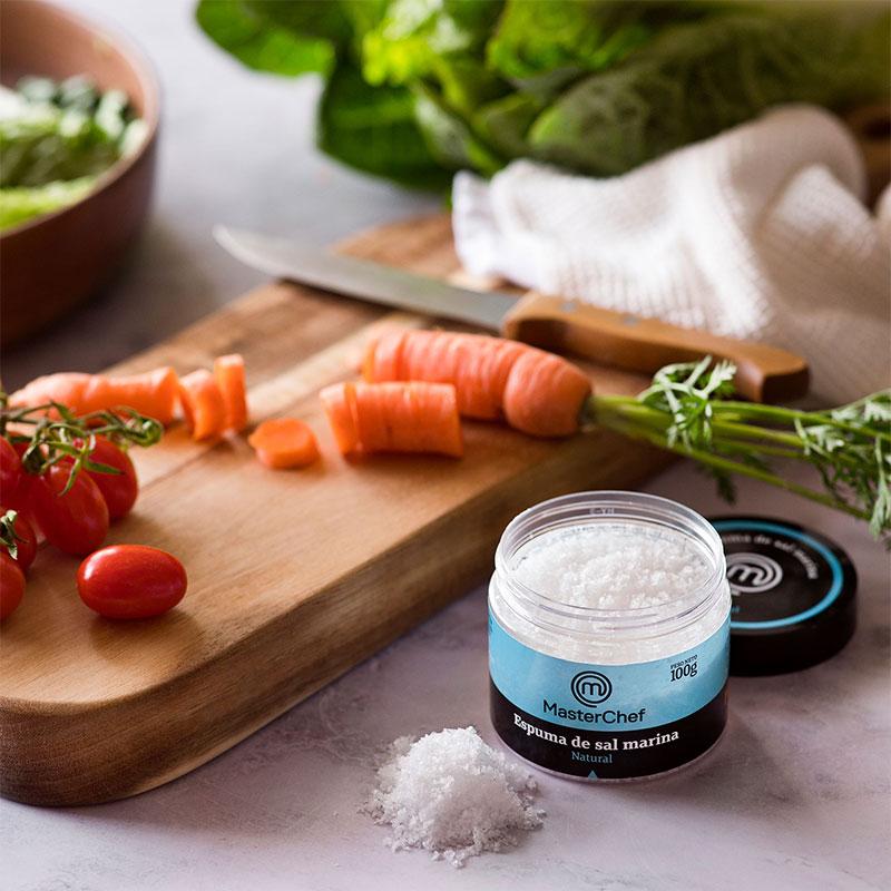 Espuma de sal marina Natural MasterChef Polasal 100 g bodegón cocinando