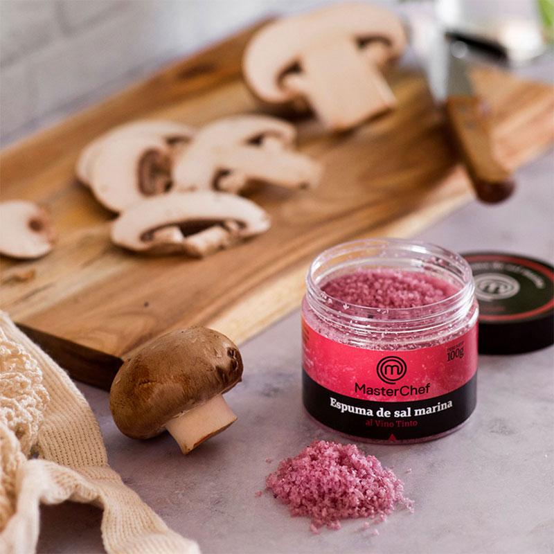 Espuma de sal marina al Vino Tinto MasterChef Polasal 100 g bodegón cocinando