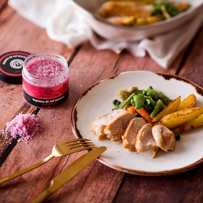 Espuma de sal marina al Vino Tinto MasterChef Polasal 100 g bodegón receta pollo