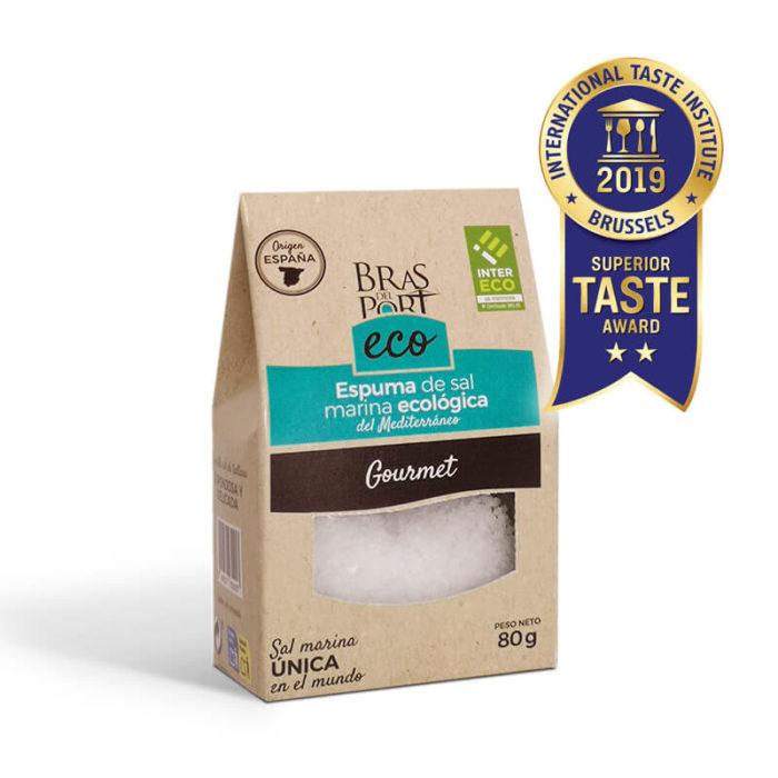Caja de espuma de sal marina ecológica INTERECO natural 80 g vista tres cuartos Superior Taste Awards
