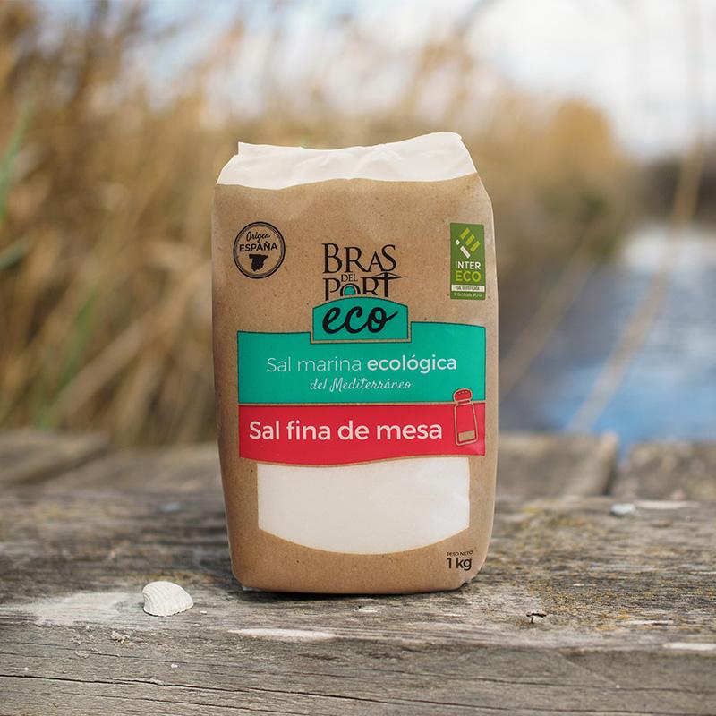 Paquete de sal marina fina ecológica INTERECO 1 kg salinas