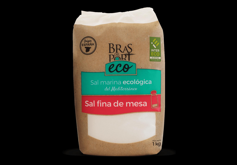 Frontal del paquete de sal marina ecológica 1 kg