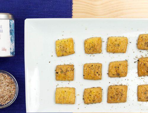 Galletitas de queso con Espuma de Sal con Tomate y Albahaca