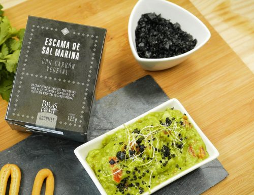 Guacamole con Escamas de Sal con Carbón Vegetal