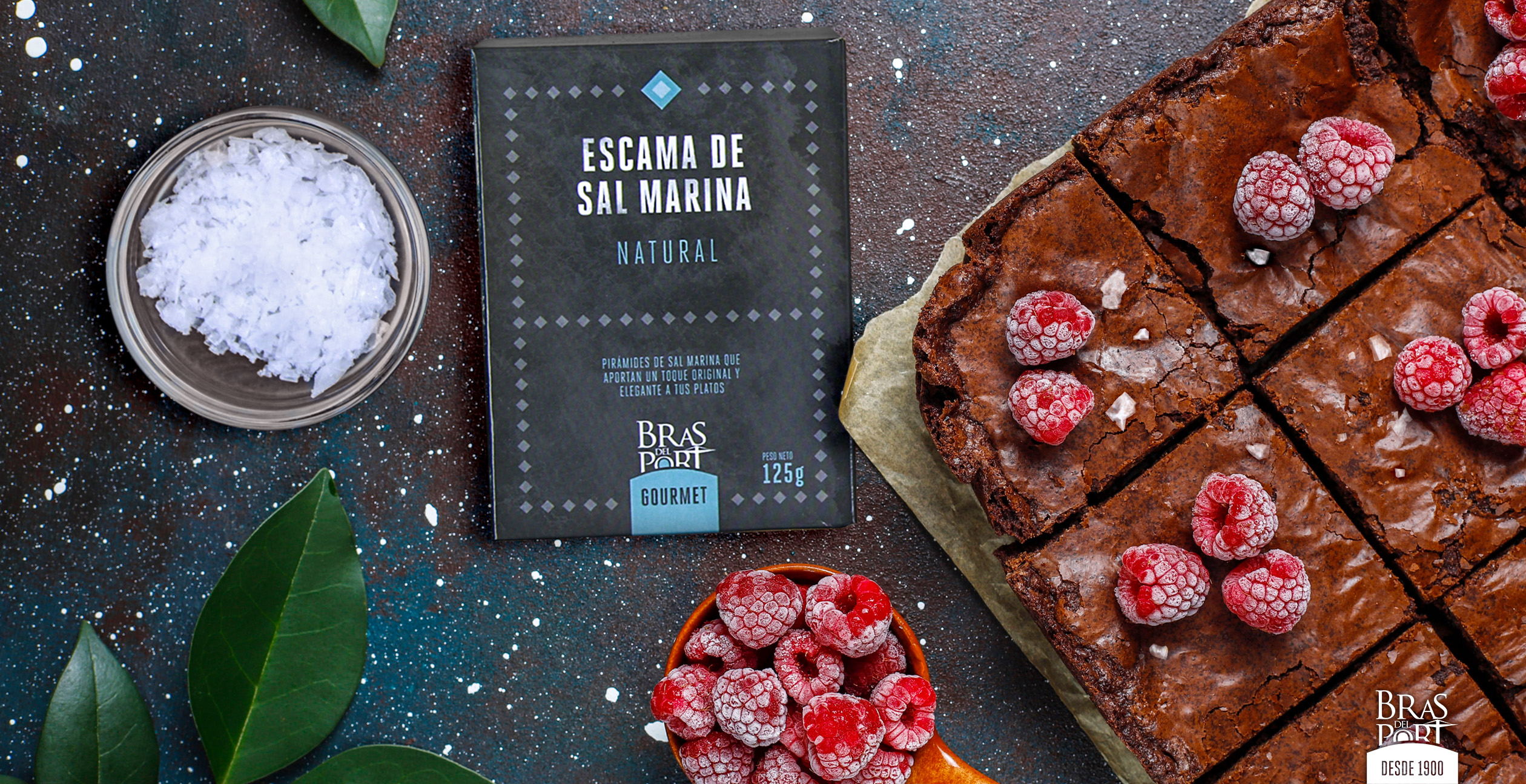 escamas de sal Bras del Port con brownie de chocolate
